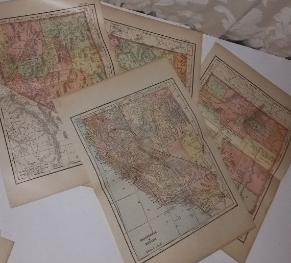 1 Antique map California Nevada Arizona New Mexico Southwest US 1900 copyright Encyclopedia Britannica book old paper full page ephemera