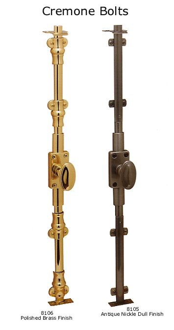 Baldwin Brass cremone bolts.  These are on interior only, no way to open from exterior and no latch.