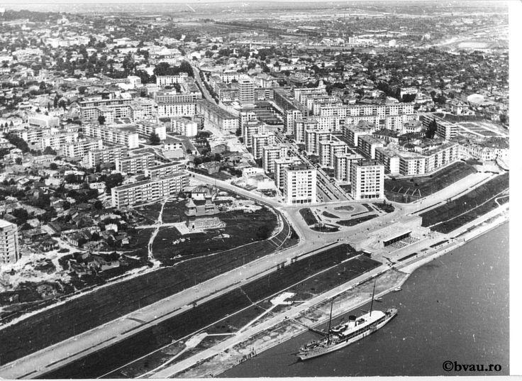 """Centrul orașului văzut din avion, 1968, Galați, România. Imagine din colecțiile Bibliotecii """"V.A. Urechia"""" Galați."""