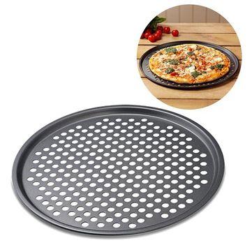 12 pulgadas antiadherente de acero al carbono placa de pizza bandeja de hornear bandeja de la pizza titular de la placa Bakeware utensilios de cocina