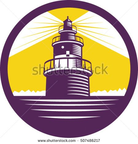 Illustration of a lighthouse viewed from front set inside circle done in retro woodcut style.  #lighthouse #woodcut #illustration