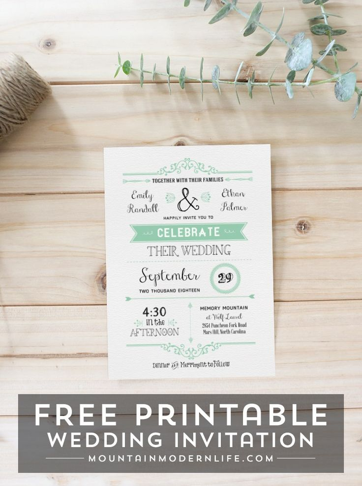 138 best FREE Printables images on Pinterest Free printable - free downloadable wedding invitation templates