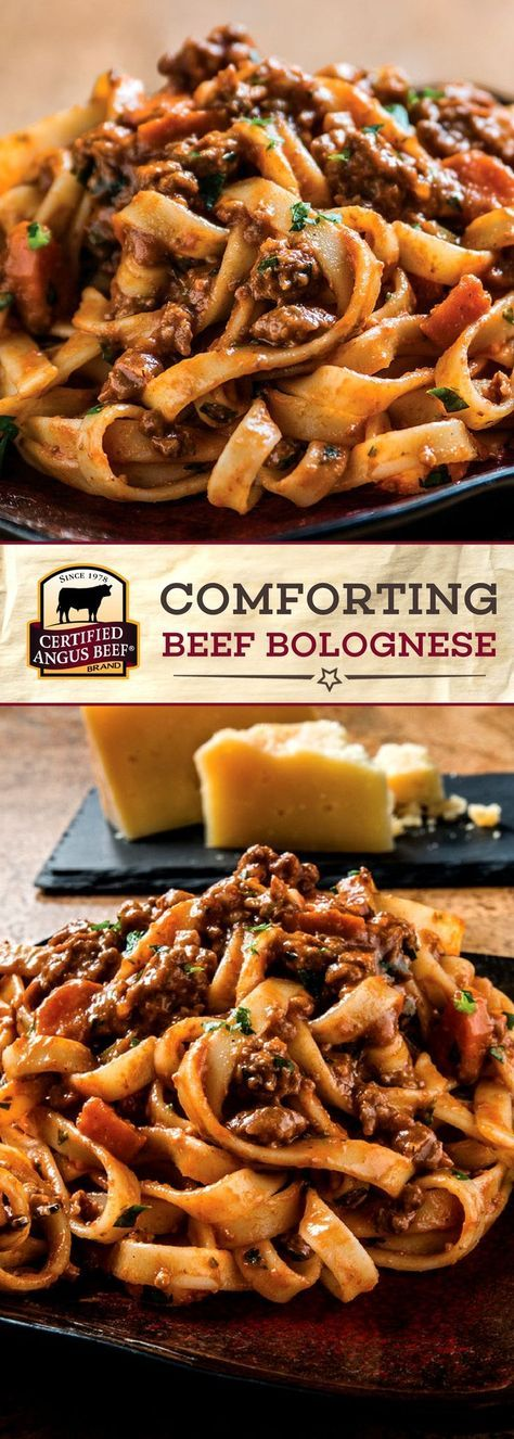 Magic happens as the Certified Angus Beef ®️️️️️️️️️️️️️️️️️️️️️ brand beef, BACON, and aromatic vegetables slowly cook down with wine, tomato paste, and beef broth in this COMFORTING Bolognese Recipe. Served with fettuccine pasta noodles and garnished with pleasantly salty Parmigiano-Reggiano cheese, this dish is a comfort food classic for your family table! #bestangusbeef #certifiedangusbeef #beefstewrecipe #pastarecipe