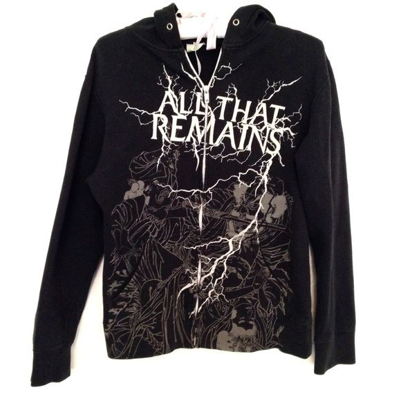 """ALL THAT REMAINS Band Hoodie All That Remains graphic logo zip up hooded sweatshirt. Lightweight so good for spring. Does contain some wear: 2 small holes on lower left back, missing drawstring, and some fading on left sleeve. Size Medium. 80% cotton 20% polyester. Chest measures 38"""". Length 23.5"""". Sleeve 22.5"""" Good pre-owned condition with no holes, rips, or stains. KWs: metal, hardcore, band tee, hot topic, edgy Tops Sweatshirts & Hoodies"""