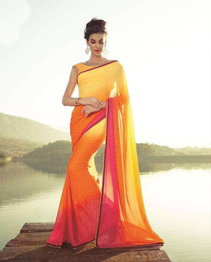Yellow and orange shaded sari 1. Yellow and orange chiffon georgette sari2. Comes with unstitched blouse material and Length-6.3 meters