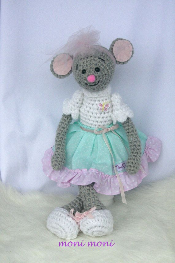 Crochet mouse made from acrylic wool and stuffed with polyester fiberfill. Her clothes are made of cotton.   Please take into consideration that colors may vary in real life and on different screens.  Measurements: approx. 43 cm high  Cleaning: recommended hand wash (30°C/86°F). Flat drying prevents deformation of the items. Do not use the dryer!   All my toys are handmade with love and care and make a perfect and unique gift for birthday or a special occasion. I  This toy can be person...