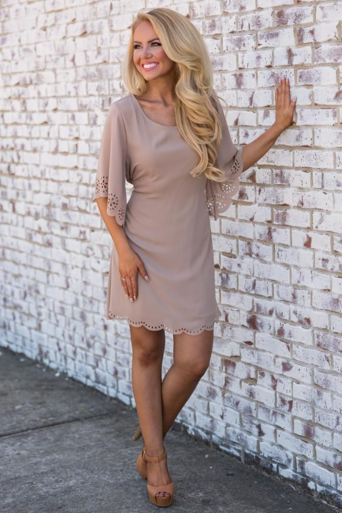 Pink Coconut Boutique | Catch Up With Me Dress - Taupe