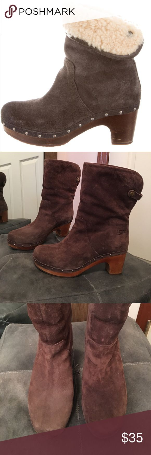 LAST!!!! ✨✨ Brown UGG Lynnea boot In EUC Lynnea ugg boot. Size 8 few scuffs here and there on the heel nothing major. Heel height 3 inches. Genuine leather and sheepskin. UGG Shoes Heeled Boots