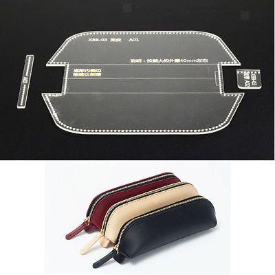 3pcs Clear Pencil Bag Pen Case Template Acrylic Leather Pattern DIY Craft