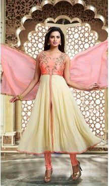Cream Color Art Silk Achkan Style Readymade Churidar Suit   FH493775692 #indian , #salwar , #kameez , #dresses , #suits , #women , #ledies , #designer , #clothing , #boutique , #online , #shopping , #anarkali , #churidar , #palazo , @heenastyle