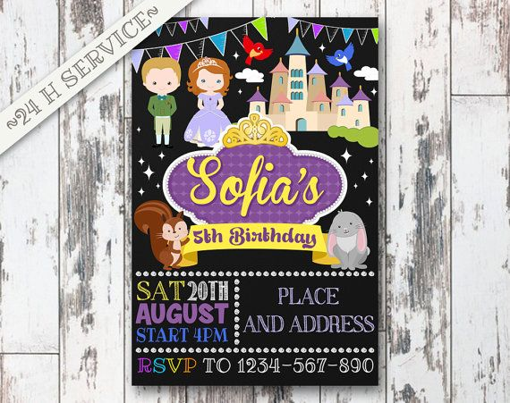 Sofia The First Chalkboard Birthday Invitation Design, Sofia The First Birthday, Sofia The First Invitation, Sofia The First Birthday