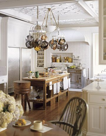 Kitchen island with pot rack
