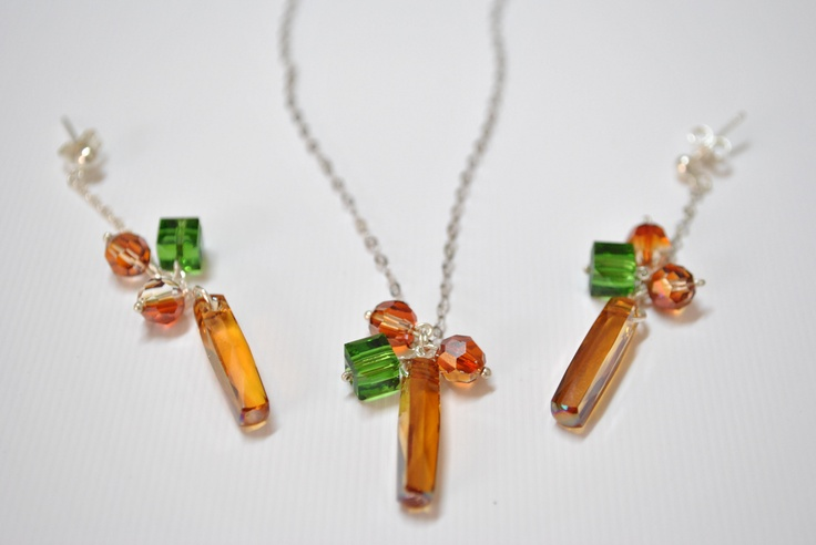 beautiful swarovski earrings and necklace...by Amethy