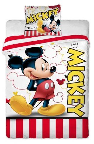 Mickey Mouse - Ložní souprava. Spánek jako v bavlnce zajistí Vašim dětem Disney ložní souprava s motivem Mickeyho mouse. Povlečení je v příjemných barvách. Na povlečení je obrázek Mickeyho s jeho typickým postojem.