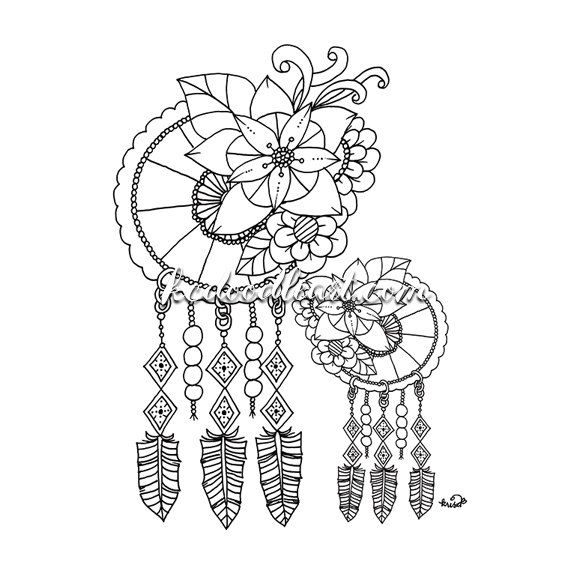 114 Basta Bilderna Om DreamCatcher Coloring Pages For