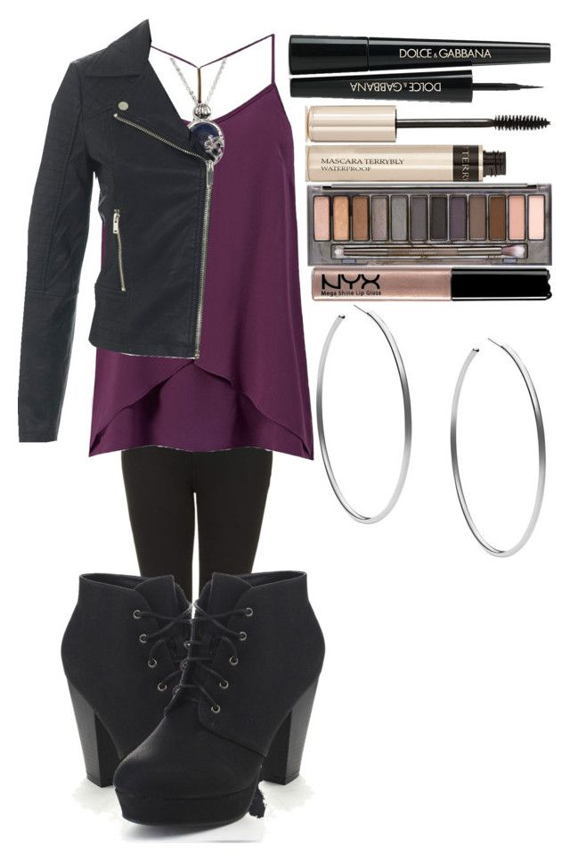 """Katherine Pierce Inspired Outfit #2"" by thisisvintage ❤ liked on Polyvore featuring Topshop, CO, Miss Selfridge, Dolce&Gabbana, Urban Decay, By Terry, NYX and Michael Kors"