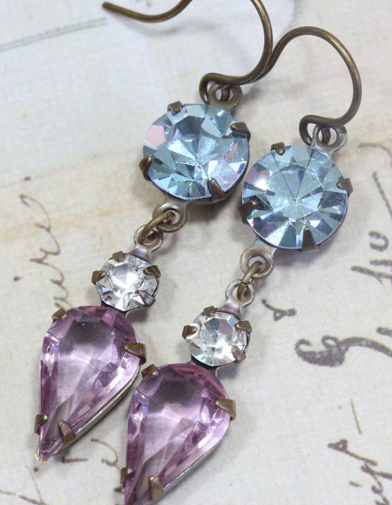 bridesmaid earrings.  has both dress colors!  purple and blue...yea!