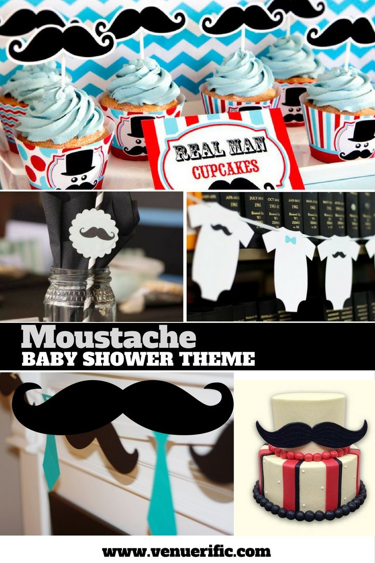 """A classy moustache theme would be just right to reveal a """"boy"""" baby. Cupcakes, Cakes, DIY diaper hangers and everything looks cute and dapper with a moustache on. Find venues that are flexible, cute, fun and affordable for baby showers at www.venuerific.com. Find more ideas, inspirations in our blog and make the baby shower a hit."""