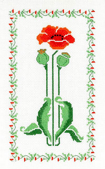 Poppy Art Deco Stencil Cross Stitch Kit by Barbara Thompson