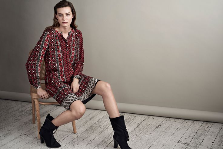 The Bohemian Print Dress | This season's must-have dress, cut from fluid, textured crepe viscose and defined by a boho inspired pattern in tones of red and black. Designed with a draped, vented neck and soft gathers at the back, it's the perfect highlight piece to enliven your winter wardrobe.