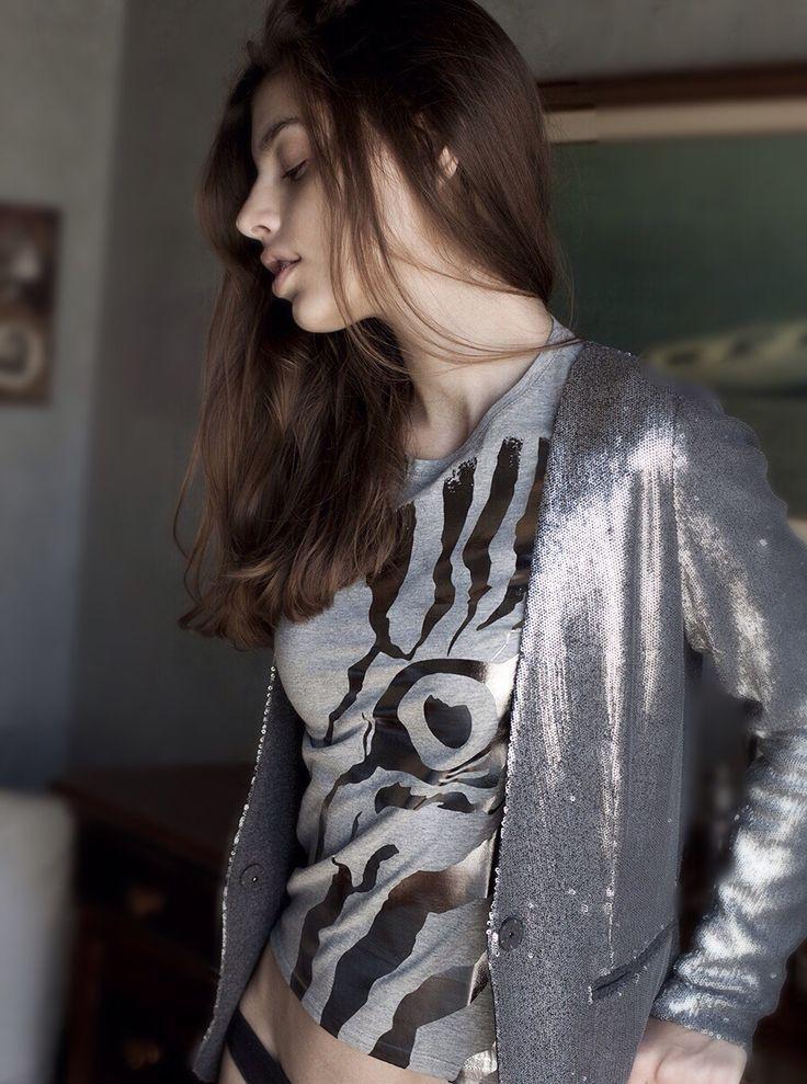T-shirt Zebra stampa metallizzata canna di fucile collezione Autunno Inverno 2015/16