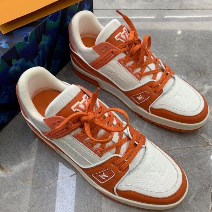 acantilado líquido Publicidad  LV Trainer Sneaker Orange 1A811Q | Sneakers, Lv shoes, Lv sneakers mens