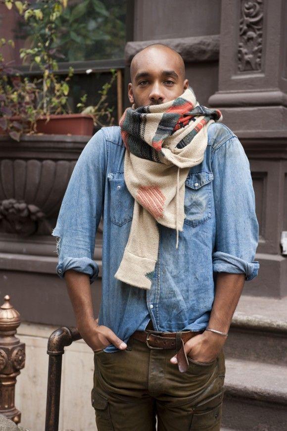 Marcus Allen wearing a vintage Wrangler® shirt scarf pants jeans style denim new york streetstyle men tumblr