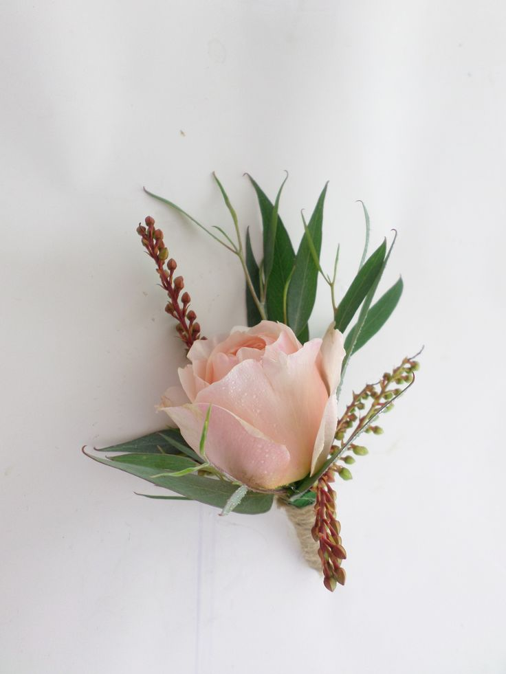 Pink rose wedding buttonhole. Created by http://floristilene.co.nz/