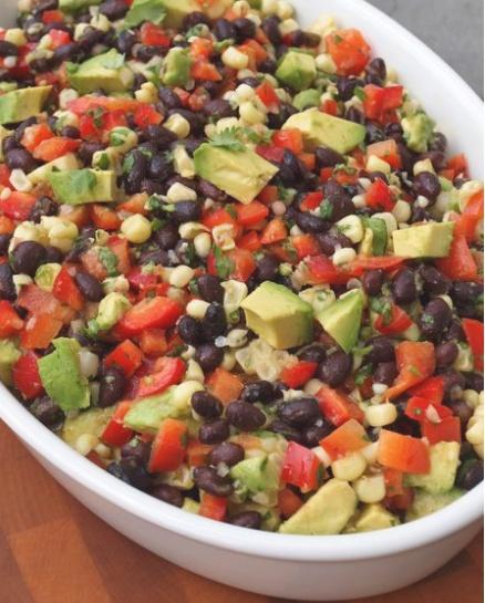 Black Bean Salad with Corn, Red Peppers, Avocado & Lime-Cilantro Vinaigrette. Recipe: http://www.onceuponachef.com/2010/08/black-bean-salad-with-corn-red-peppers-avocado-lime-cilantro-vinaigrette.html