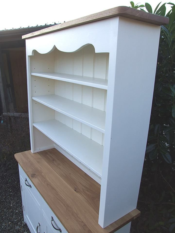 """Painted Shaker Dresser Base with Open Shelved Top W:48"""" D:18"""" H:34"""" Solid Oak Work Surface and Cornice Trim. Shown here hand-painted in Farrow & Ball House White but can be built in any size and colour to order."""