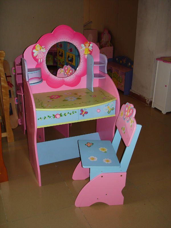 Wooden pink and nice Children dressing table with chair