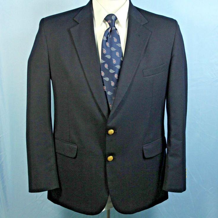 Bernhard Altmann 46L Wool Navy Gold Button Blazer Athletic Fit Vtg ICONIC Jacket #BernhardAltmann #TwoButton