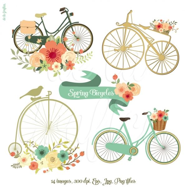 SPRING BICYCLES CLIPART | This unique clipart is ideal for invitations, cards, wedding invitations, transfers, web design, graphic design, handmade craft items, printed paper items, cupcake toppers, scrapbooking, cards and so much more!!