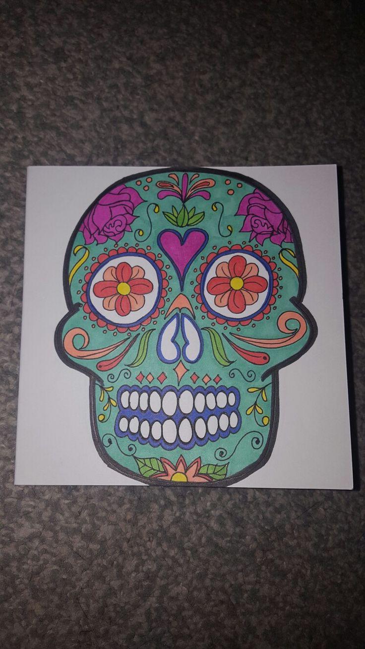 Sugar skull hand drawn card