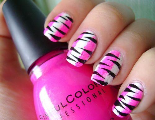 pink and white zebra nails Zebra Nail Designs