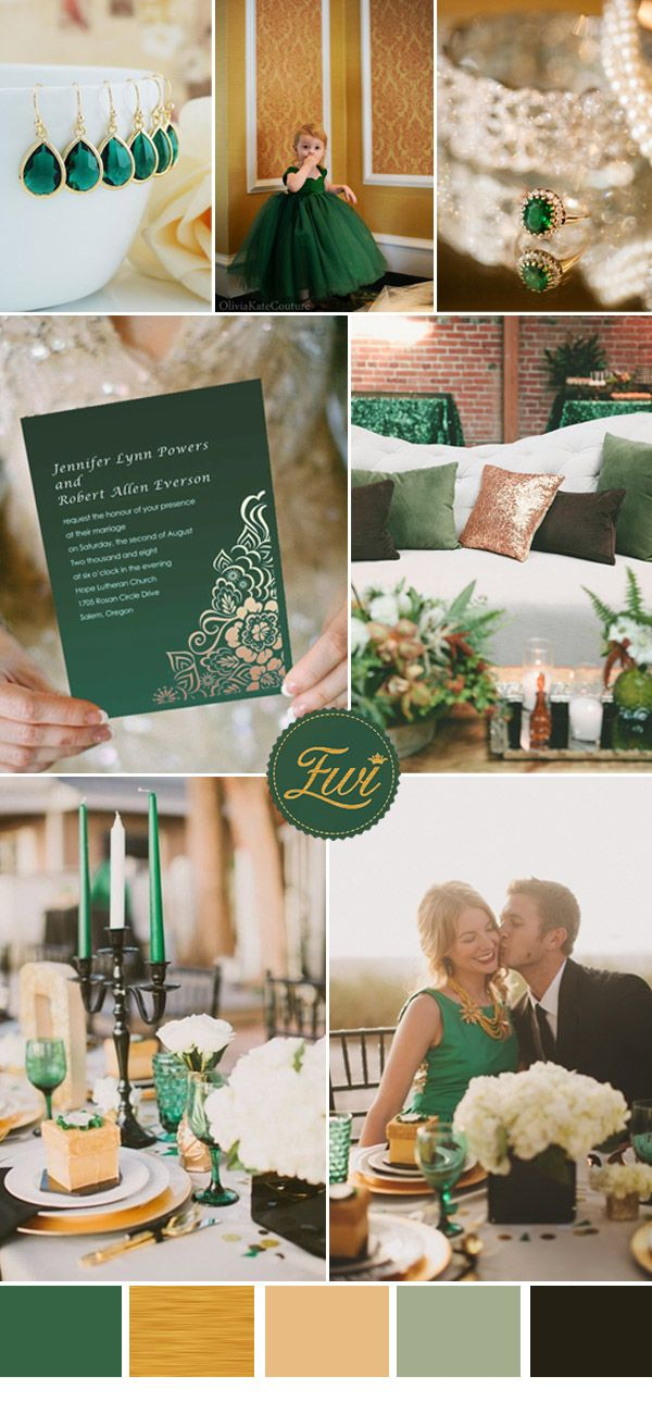 Elegant vintage emerald and metallic gold wedding color ideas and invitations.