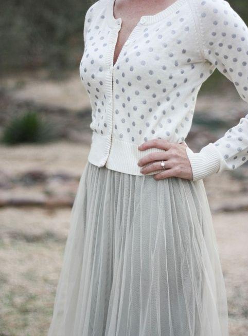 polka dot cardigan and tulle skirt