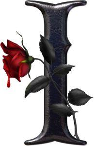 Abecedario gótico adornado con rosas. Letra I (vocal) mayúscula.