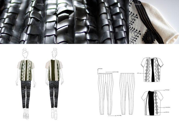 Fashion Portfolio - woven textiles collection - illustrations & fashion design flats; fashion sketchbook; creative processes // Simone Munsters