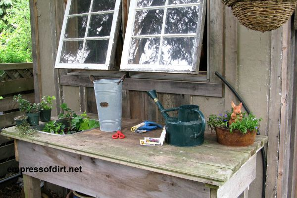 Gallery of Potting Benches   empressofdirt.net!!! Bebe'!!! Love this rustic pottingbench and shed!!!