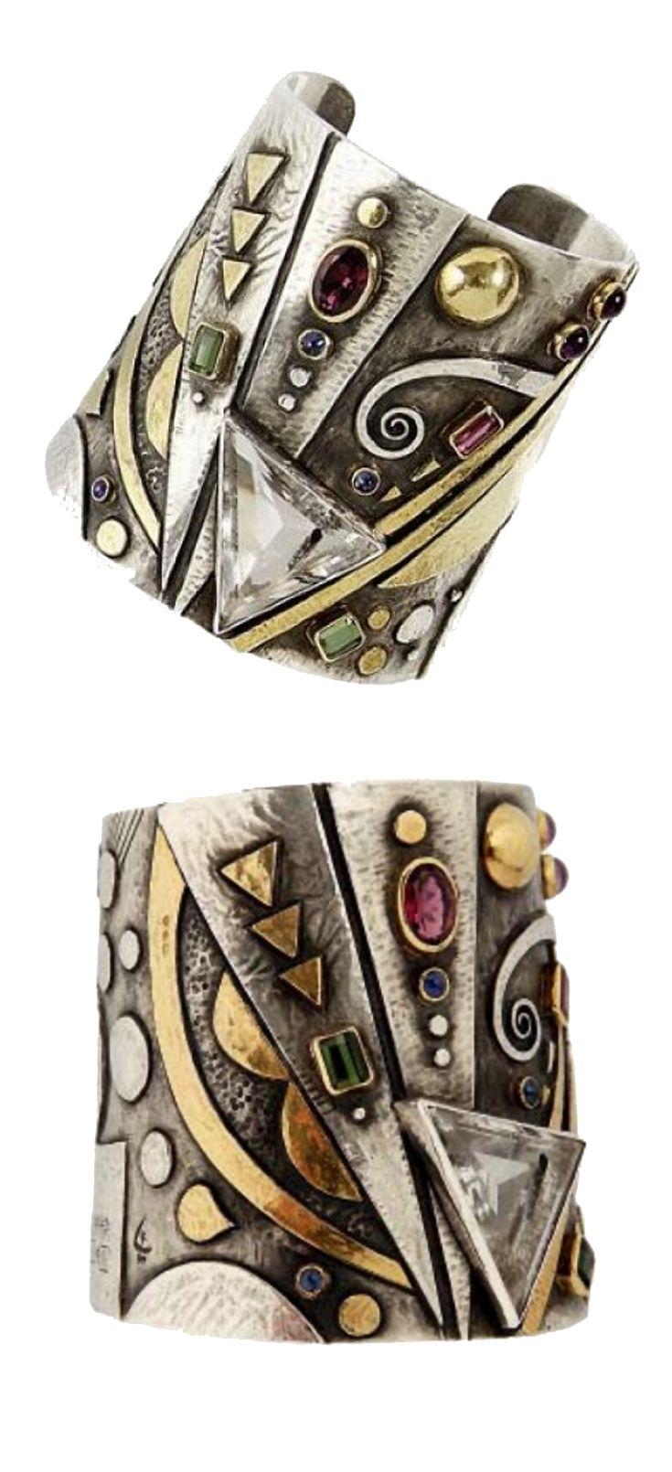 "Cuff bracelet | Linda Ladurner. ""Hommage à Kandinsky"". Silver, gold, rock crystal, tourmaline, sapphire and amethyst"