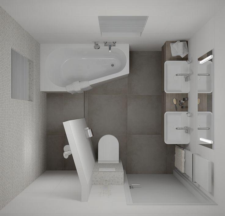 Badkamerontwerp met betegelde inloopdouche die haaks staat op de schuine lijn ligbad badkamer - Klein badkamer model ...