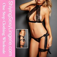 Hot selling latest design very cheap sexy black 3pcs satin tie lace lingerie set Best Buy follow this link http://shopingayo.space