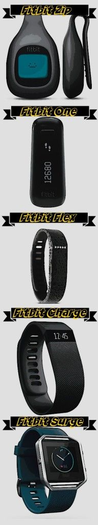 Different styles of Fitbit fitness tracker