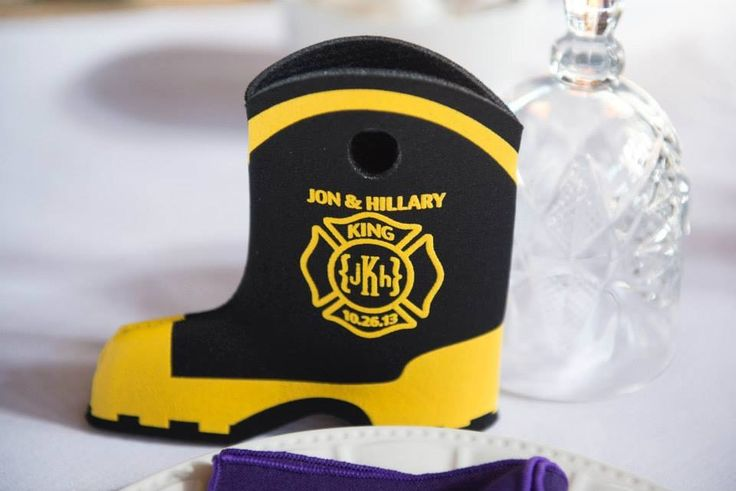 Firefighter Wedding Koozies - Personal koozies for wedding drink are a greate wedding favor idea.