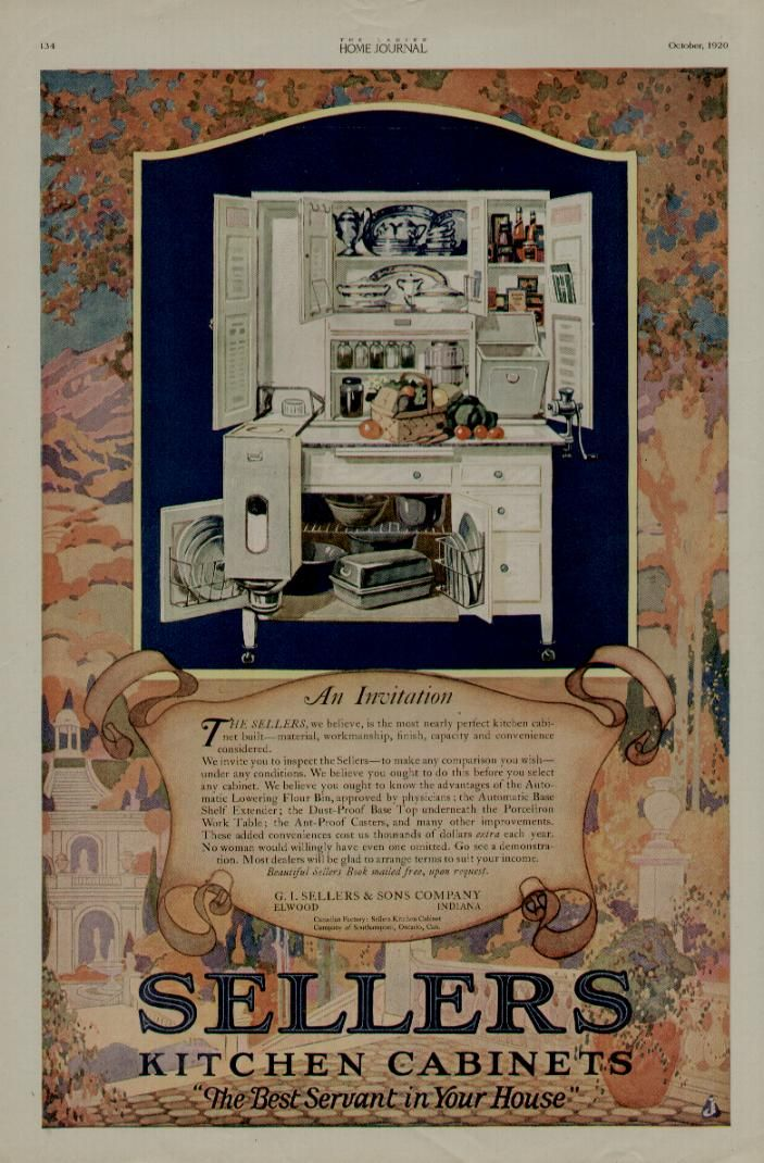 1920 Sellers Kitchen Cabinets Ad / Terrific Color Scene