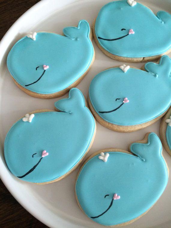 Ballena decoradas Cookies Galletas de por MilkandHoneyCakery