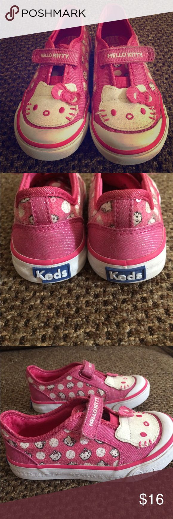 Hello kitty keds tennis shoes size 6 Hello kitty tennis shoes glittery hello kitty and sequins on the side Excellent used condition Keds Shoes Sneakers