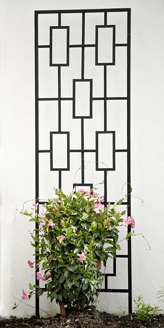 "Panacea Contemporary Trellis, Black, 78""H at BestNest.com"