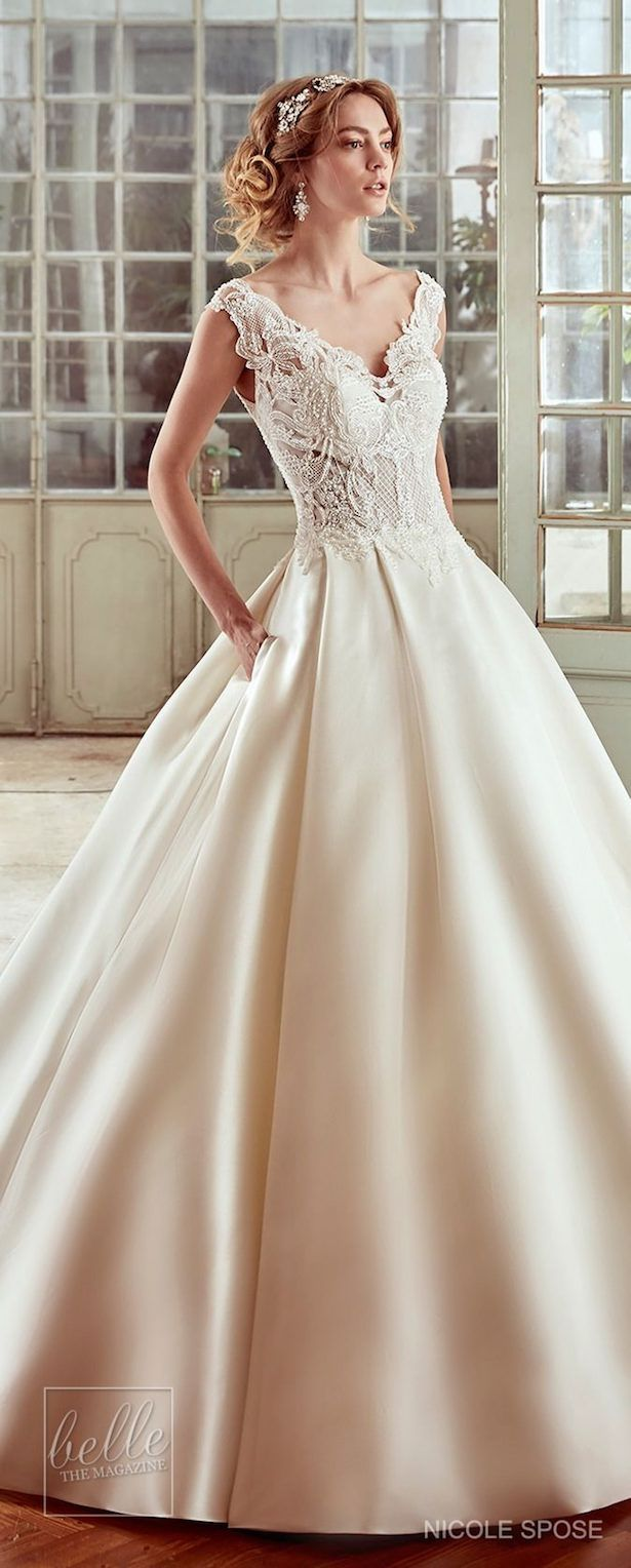 Nicole spose wedding dress collection v neck ballgown with